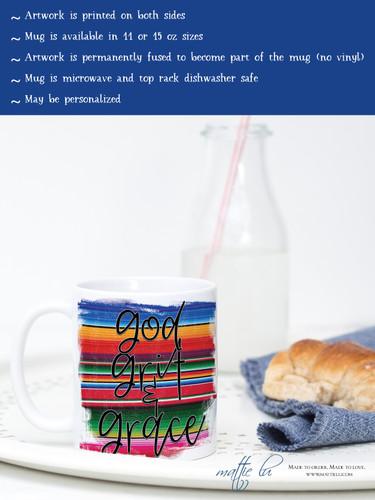 God Grit & Grace Coffee Mug | Coffee Mugs with Sayings | Coffee Cups | Mom Mugs | Gifts for Mom | Teacher Mugs | Religious Mugs | Serape Mug
