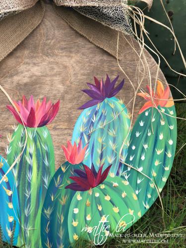 Cactus Front Door Decor | Cactus Decor | Round Door Hanger with Flowering Cactus