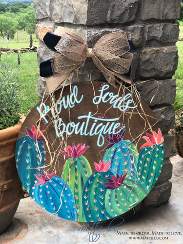 Customized Door Signs | Cactus Decor | Personalized Door Sign with Flowering Cactus