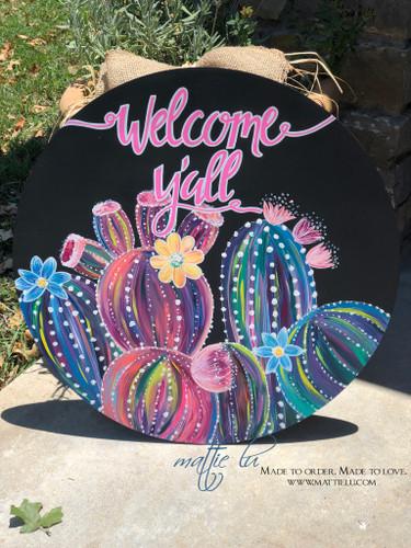 Welcome Door Hanger | Cactus Decor | Welcome Y'all with Flowering Cactus | Decorative Front Door Hangers