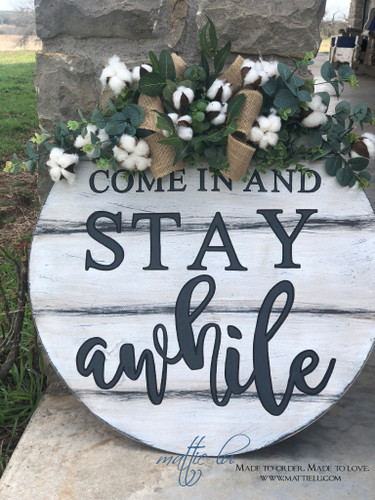Farmhouse Front Door Decor | Personalized Door Sign | Come In And Stay Awhile
