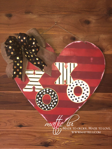 Valentine's Day Door Decor |  Heart Decorations | Painted XOXO | Custom Door Hanger