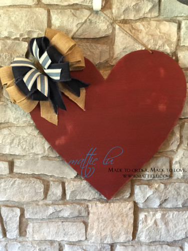 Valentine's Day Door Decor |  Red Distressed Heart Decoration | Custom Door Hanger