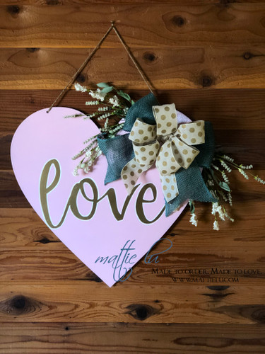 Valentine's Day Door Decor |  Pink Heart Decorations | Custom Door Hanger
