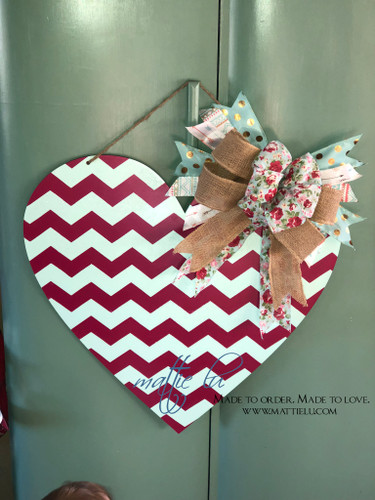 Valentine's Day Door Decor |  Red Chevron Pattern Heart | Heart Decorations | Custom Door Hanger