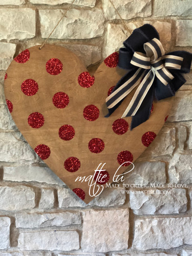 Valentine's Day Door Decor |  Red Glitter Polka Dot Heart | Heart Decorations | Custom Door Hanger