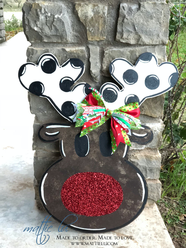 Christmas Front Door Decor/ Reindeer Decor/ Polka Dot Reindeer/Rudolph Door Sign/ Custom Decor Hanger