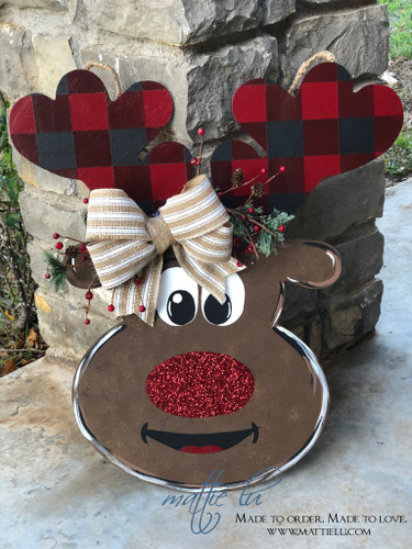 Christmas Front Door Decor| Reindeer Decor| Plaid Antlers| Plaid Antler Reindeer Door Hanger| Plaid Reindeer Door Hanger
