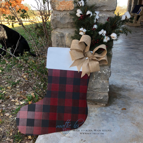 Christmas Front Door Decor|Stocking Decor|Buffalo Plaid Stocking| Buffalo Plaid Stocking Door Hanger|Buffalo Plaid Stocking Door Decor
