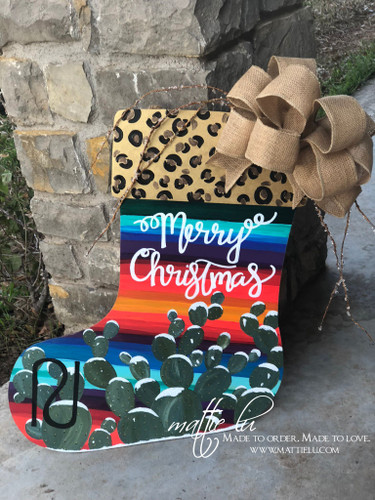 Christmas Front Door Decor| Stocking Door Decor|Cheetah Serape Stocking| Cactus Stocking Door Hanger| Cactus Serape Stocking Door Hanger| Cheetah Cactus Serape Stocking Door Hanger|Merry Christmas Stocking