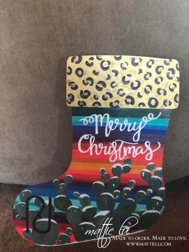 Christmas Front Door Decor| Stocking Door Decor|Cheetah Serape Stocking| Cactus Stocking Door Hanger| Cactus Serape Stocking Door Hanger| Cheetah Cactus Serape Stocking Door Hanger|Merry Christmas Stocking