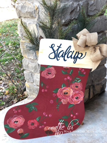 Christmas Front Door Decor| Stocking Door Hanger| Floral Stocking| Floral Stocking Door Decor| Floral Stocking Front Door Decor