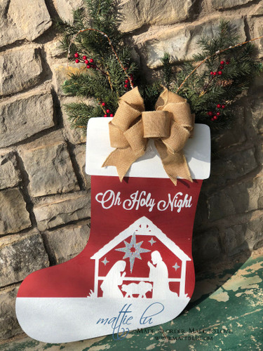 Christmas Front Door Decor| Oh Holy Night Stocking| Holy Night Stocking| Oh Holy Night Door Hanger|Oh Holy Night Decor