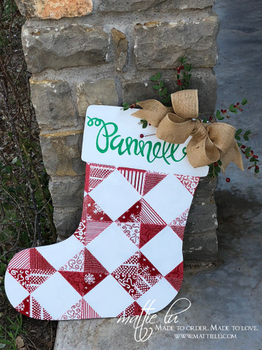 Christmas Front Door Decor| Quilted Stocking| Quilted Christmas Door Hanger| Quilted Stocking Door Decor