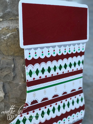 Christmas Front Door Decor| Striped Stocking Door Hanger| Stripe Pattern Door Hanger| Pattern Stocking Door Decor