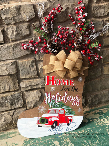 Christmas Front Door Decor| Home For The Holidays Door Hanger| Holiday Door Decor| Home For The Holidays Christmas Door Hanger|Christmas Truck| Truck and Tree|Red Truck Decor|