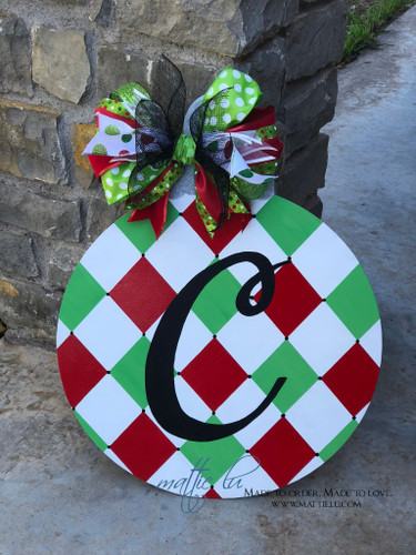 Christmas Front Door Decor|Round Initial Door Hanger| Christmas Ornament Initial Door Decor| Christmas Initial Door Decor