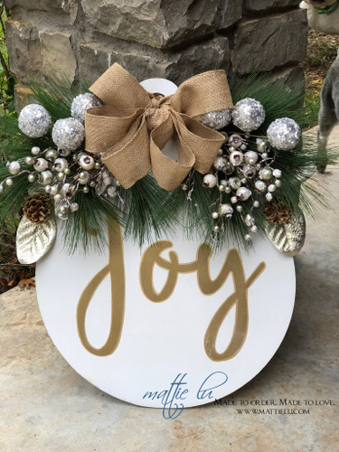 Christmas Front Door Decor|Joy Ornament Door Hanger| Christmas Joy Door Decor| Joy Ornament Door Hanger|Round Door Decor