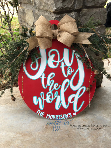 Christmas Front Door Decor| Ornament Door Hanger| Joy To The World| Joy To The World Door Hanger|Joy To The World Ornament
