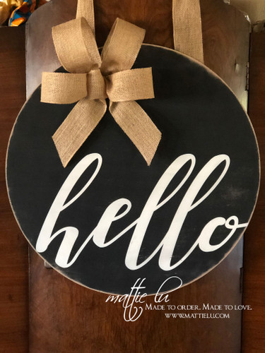 Hello Door Hanger| Custom Hello Door Decor| Hello Door Decor| Round Hello Door Hanger
