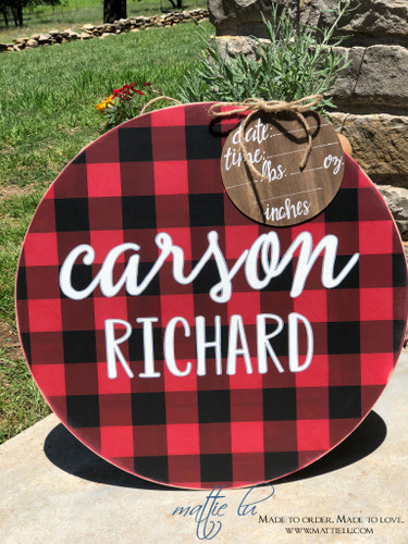 Custom Door Hanger| Personalized Round Door Hanger| Name Door Hanger| Buffalo Plaid Round Door Hanger| Buffalo Plaid Door Decor