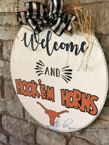 Custom Door Hanger| Hook Em' Horns| UT Door Hanger| College Door Decor| Round Hook Em' Horns Door Hanger
