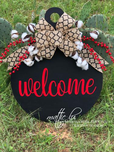 Welcome Front Door Hanger| Custom Welcome Door Decor| Round Red and Black Door Hanger| Round Welcome Door Hanger