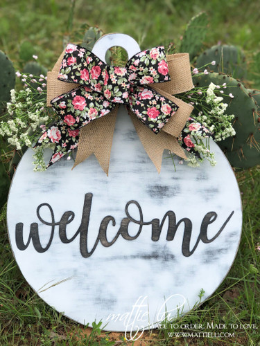 Welcome Front Door Hanger| White Distressed Welcome Door Hanger| Round White Door Decor| Welcome Door Decor