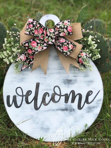 Welcome Front Door Hanger| White Distressed Welcome Door Hanger| Round White Door Decor| Welcome Door Decor