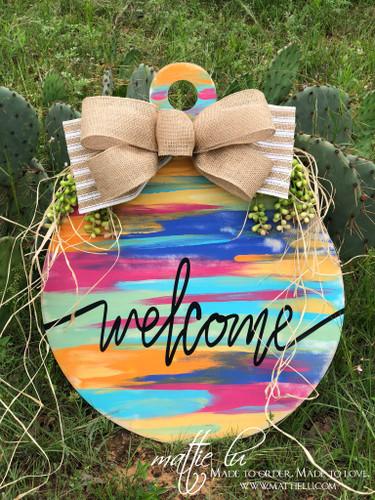 Welcome Front Door Hanger| Multi-Color Welcome Door Hanger| Colorful Welcome Door Decor|