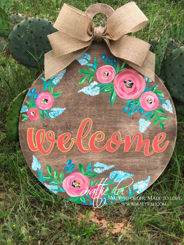 Welcome Front Door Hanger| Floral Welcome Door Hanger| Welcome Flower Door Decor| Floral Door Hanger