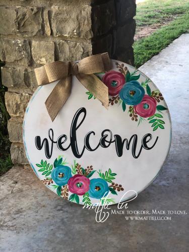 Welcome Front Door Hanger| Floral Welcome Door Hanger| Welcome Flower Door Decor| White Welcome Door Hanger