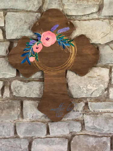 Cross Front Door Hanger| Floral Cross| Cross Door Decor|Spring Door Decor| Floral Door Decor| Easter Decor| Easter Cross