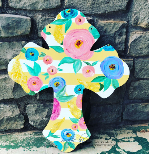 Cross Front Door Hanger| Striped Cross| Floral Cross| Spring Door Hanger| Floral Easter Cross Door Hanger|