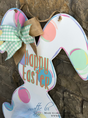 Rabbit Front Door Hanger| Happy Easter| Happy Easter Bunny Rabbit|Easter Bunny Door Decor| Polka Dot Easter Bunny| Bunny Rabbit Door Hanger| Spring Decor