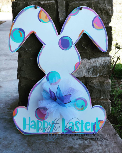 Rabbit Front Door Hanger| Happy Easter| Happy Easter Bunny Rabbit| Easter Bunny Door Decor| Polka Dot Easter Bunny| Bunny Rabbit Door Hanger| Spring Decor