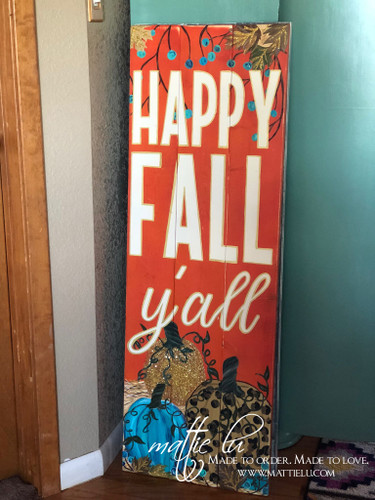 Happy Fall Front Porch Sign| Fall Porch Sign| Happy Fall Y'all| Fall Porch Decor| Orange Fall Sign