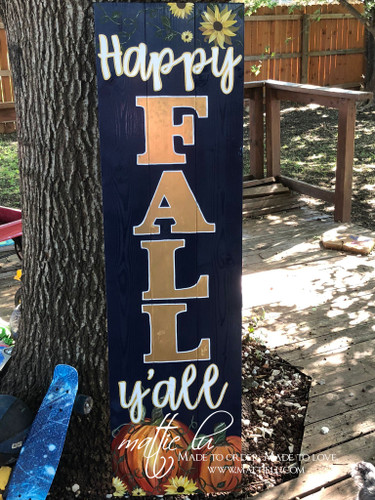 Happy Fall Front Porch Sign| Fall Porch Sign| Happy Fall Y'all| Fall Porch Decor| Navy Blue Happy Fall Sign