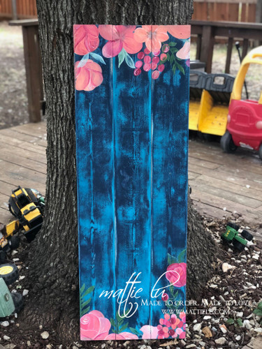 Custom Front Porch Sign| Navy Blue and Floral Sign| Floral Front Porch Sign| Distressed Porch Sign| Flower Front Porch Sign