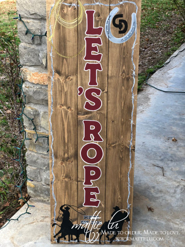 Front Porch Decor| Let's Rope| Custom Front Porch Sign| Let's Rope Front Porch Sign| Name Sign