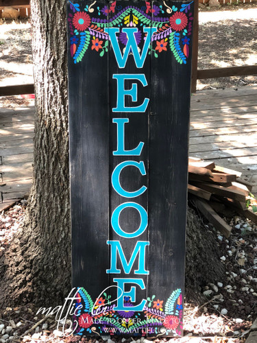 Welcome Front Porch Sign| Front Porch Signs| Fiesta Welcome Sign| Fiesta Print|Front Porch Decor| Flower Welcome Sign|Fiesta and Flower Sign