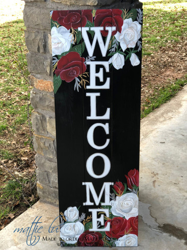 Welcome Front Porch Sign| Front Porch Decor| Red Rose Welcome Sign| Red and White Roses Welcome Sign|