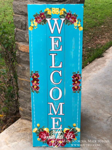 Welcome Front Porch Sign| Flower Welcome Sign| Flower Border Front Porch Sign| Front Porch Decor