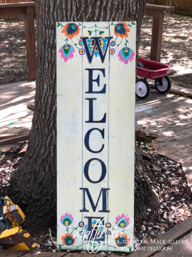Welcome Front Porch Sign| Front Porch Decor| Boho Welcome Sign| White Distressed Welcome Sign|