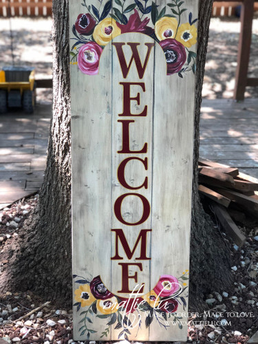 Welcome Front Porch Sign| Front Porch Decor| Burgundy Letters| Burgundy Roses| Rose Welcome Sign
