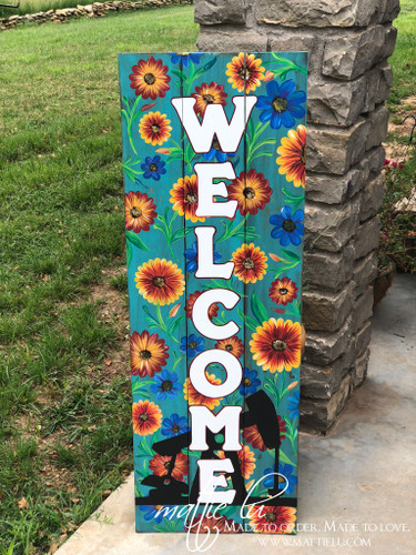 Welcome Front Porch Sign| Front Porch Decor| Oil Well Sign| Pump Jack Sign| Flowers