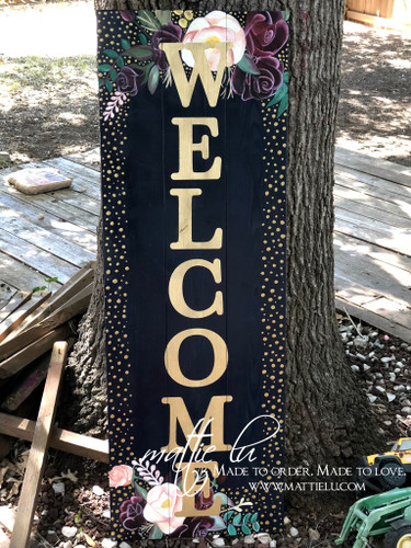 Welcome Front Porch Sign| Front Porch Decor| Gold Polka Dot Welcome Sign| Gold Polka Dot Border|Flowers and Gold Letters