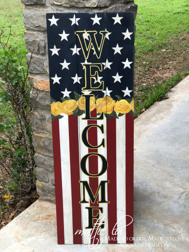 Welcome Front Porch Sign| Front Porch Decor| Patriotic Porch Sign| United States Flag Sign| Patriotic Welcome Sign| Flag Welcome Sign| Flag and Flowers