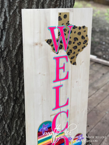Welcome Front Porch Sign| Front Porch Decor| Cheetah Texas| Serape Cactus| Cheetah and Serape Welcome Sign| Serape Front Porch Decor