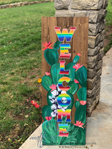 Welcome Front Porch Sign| Front Porch Decor| Serape Letters| Blooming Cactus Welcome Sign| Cactus and Serape| Serape Letter Welcome Sign| Serape Front Porch Decor